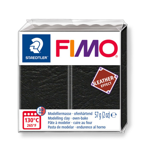 Fimo klei leather effect zwart black 909 Lottes Place