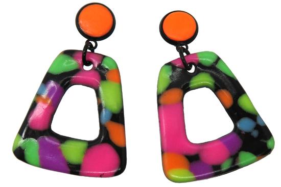 Fimo effect neon voorbeeld oorbellen