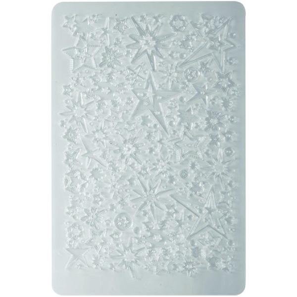 textuurplaat fimo klei sterren en sneeuwvlokken